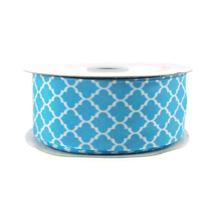 Geometric Print Satin Ribbon, 1-1/2-inch, 10-yard, Turquoise