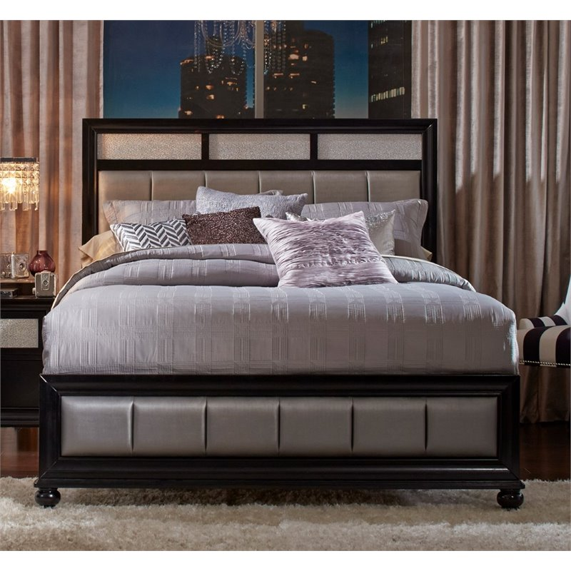 Coaster Barzini Upholstered Queen Panel Bed In Black And
