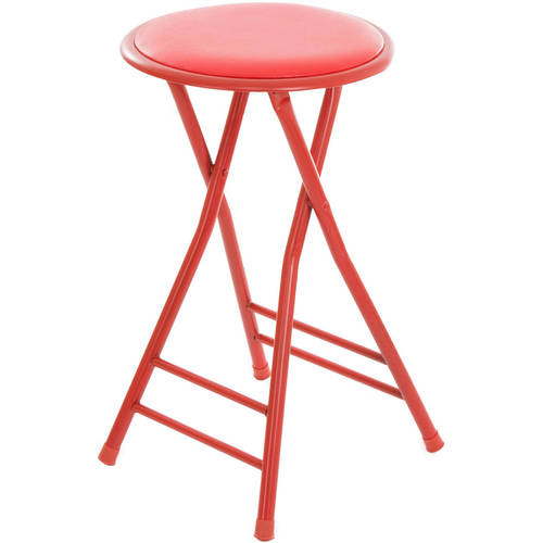 Folding Stool – Heavy Duty 24-Inch Collapsible Padded Round Stool with 300 Pound Limit for Dorm, Rec or Gameroom by Trademark Home (Red)