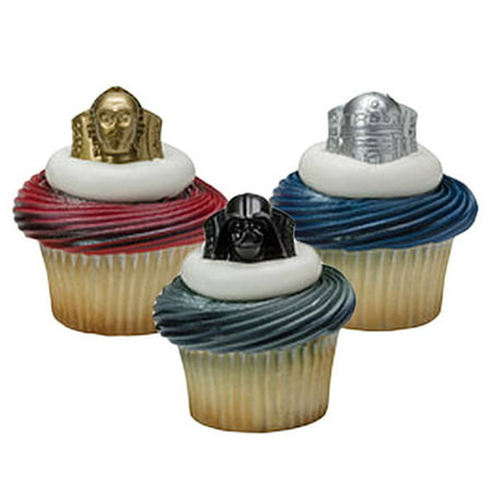 24 Star Wars Darth Vader Cupcake Cake Rings Birthday Party Favors Toppers - Star Wars Favors Ideas