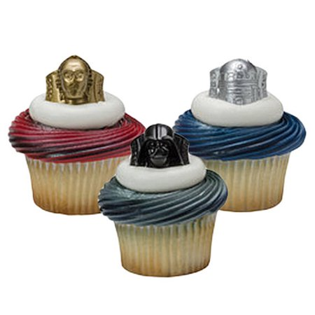 24 Star Wars Darth Vader Cupcake Cake Rings Birthday Party Favors Toppers