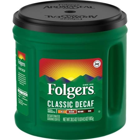 Folgers Classic Decaf Ground Coffee, Medium Roast, (Best Tasting Decaf Coffee)