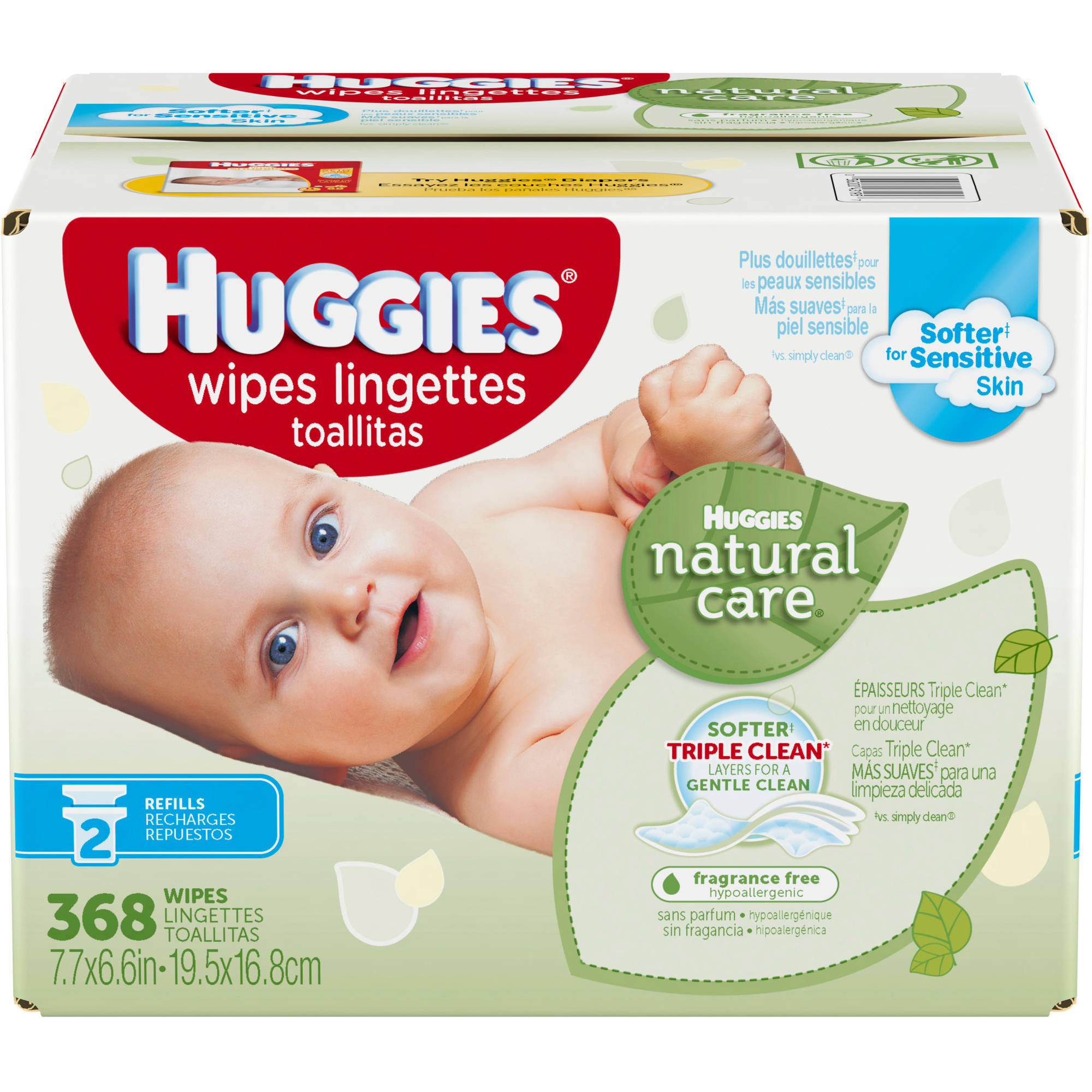 Huggies Natural Care Baby Wipes, Refill, Unscented, Hypoallergenic, Aloe and Vitamin E
