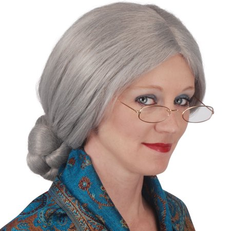 Loftus Womans The Granny Bun Old Lady Grey Wig, Grey, One-Size - Kids Old Lady Wig