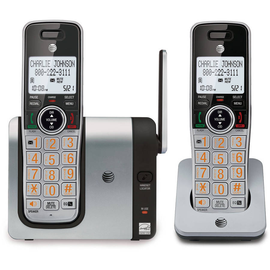 AT&T CL81214 DECT 6.0 Expandable Cordless Phone with Caller ID and Big Buttons, 2 Handsets, Silver/Black