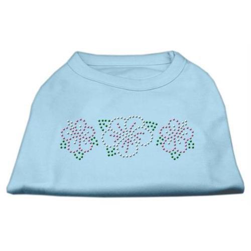 Tropical Flower Rhinestone Shirts Baby Blue XS (8)