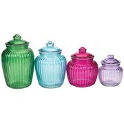 Colored Glass Apothecary Jars with Lids, Decorative Display Canisters and Storage Containers, Set of 4