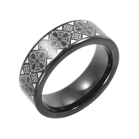 Men's Black IP Tungsten Celtic Cross Pattern Wedding Band - Mens Ring Black Gold Celtic Bands