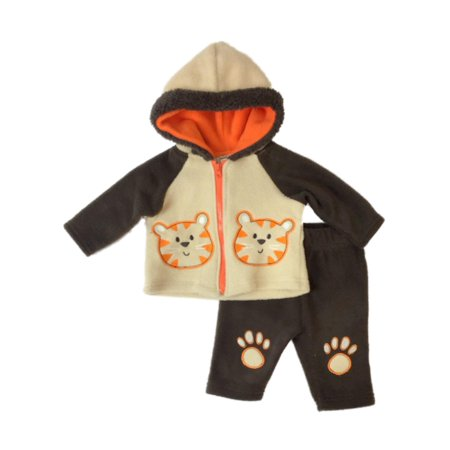 - Infant Boys Baby Outfit Brown Fleece Tiger Hoodie Jacket & Sweat Pants Set