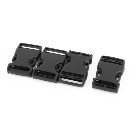 4pcs Black Plastic Curved  Side Quick Release Buckles Snap Clip for 25mm Webbing Band for Home (Snap Buckle)