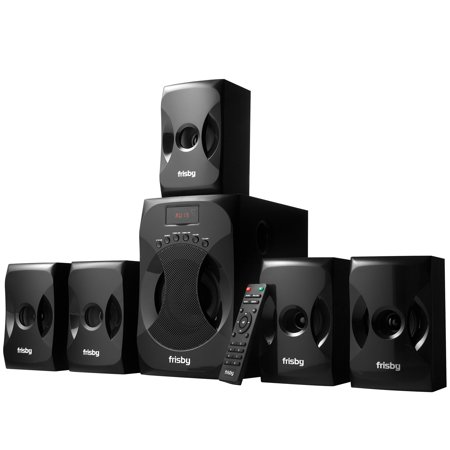 Frisby 5.1 Surround Sound Home Theater System with Subwoofer, Bluetooth Wireless Streaming from Devices, USB MP3 Input, Memory Card Reader, FM Radio Tuner - Black ()