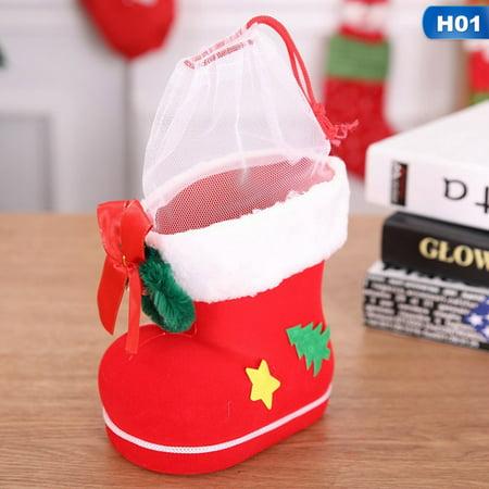 AkoaDa Christmas Gift Flocking Boots Candy Socks Xmas Kids Santa Decoration Bag Winter Beauty ()