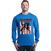 Shop4Ever Men's Freedom Flag Lady Liberty Statue 4th of July Long Sleeve Shirt