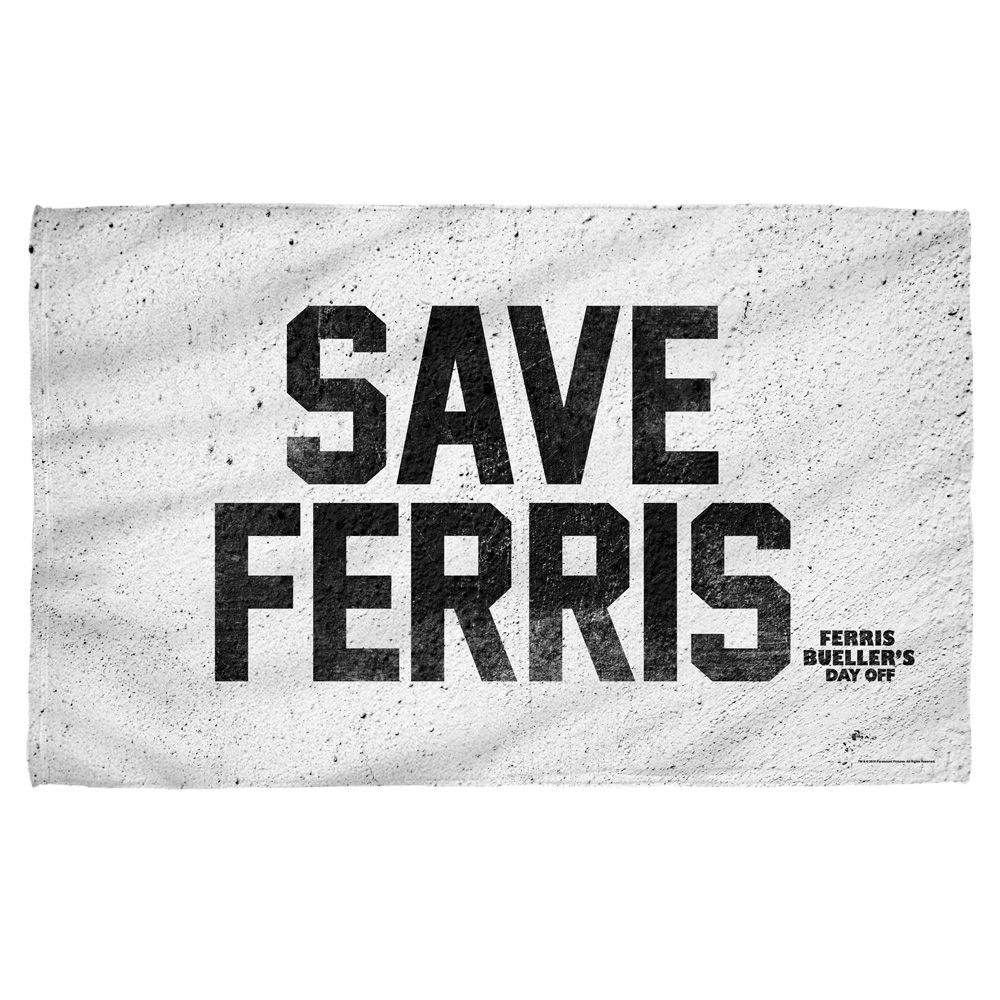 Ferris Bueller Save Ferris Bath Towel White 27X52