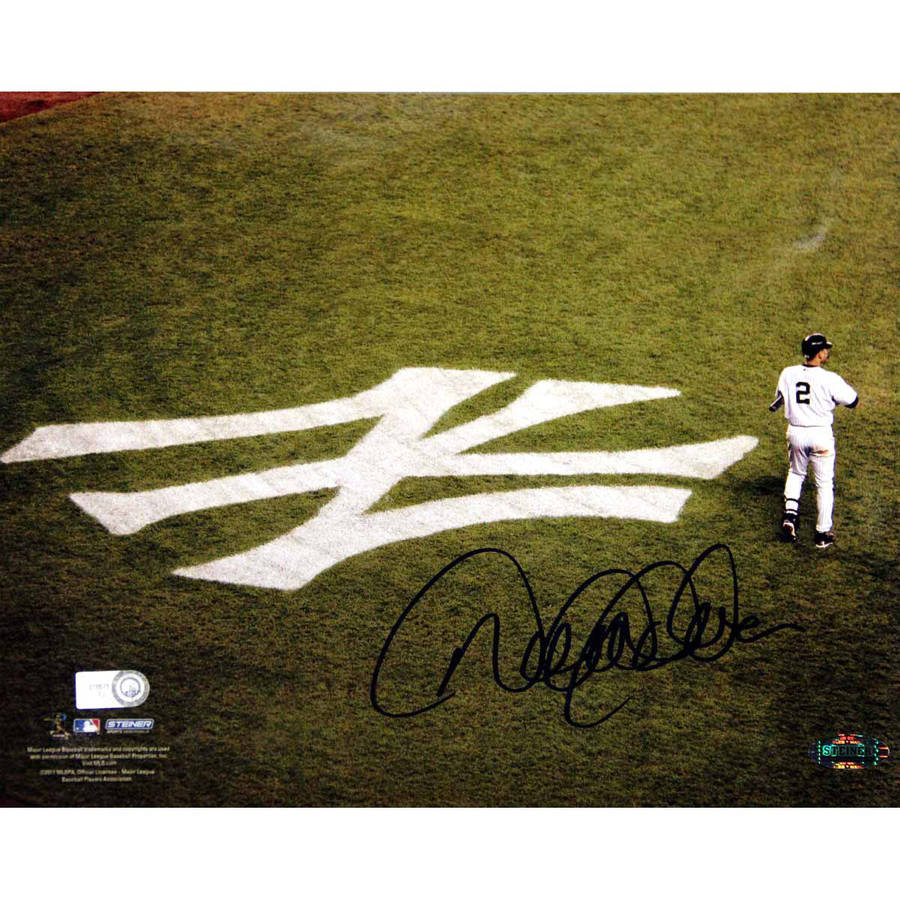 "Derek Jeter On Field with Yankee Emblem Horizontal 8"" x 10"" Photo (MLB Authorized)"
