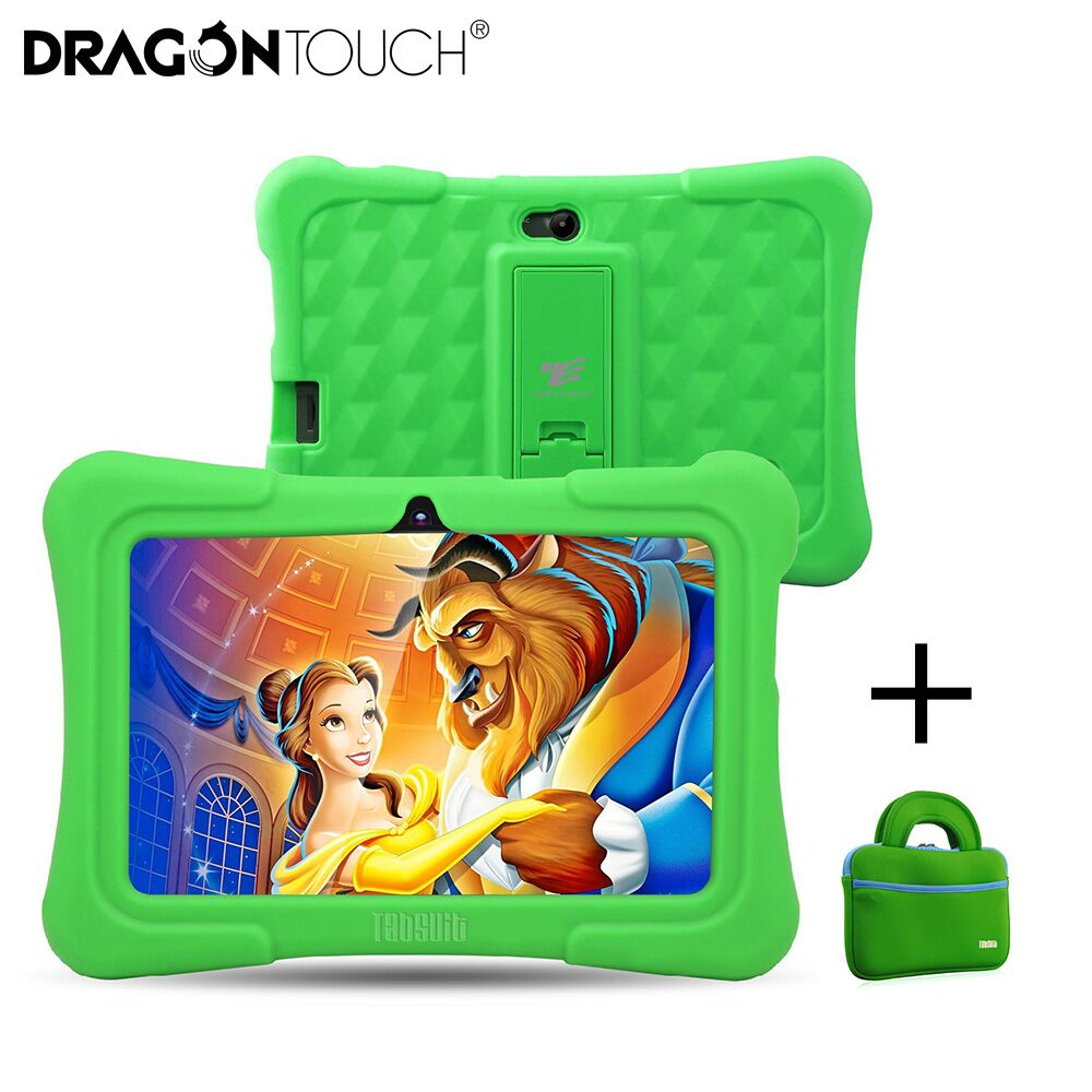 Dragon Touch Green Y88X Plus 7 inch Kids Tablets PC Quad Core 8G ROM Android 6.0 With All-New Disney Content for Children+ Tablet Bag