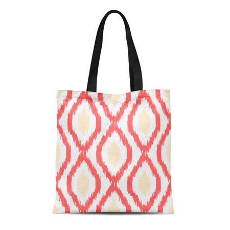 ASHLEIGH Canvas Tote Bag Red Ikat Abstract Geometric Coral Light and Beige Reusable Shoulder Grocery Shopping Bags Handbag - Coral Tote Bag