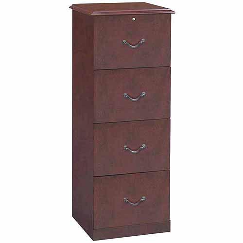 Elegant 4 Drawer Vertical Wood Lockable Filing Cabinet, Cherry