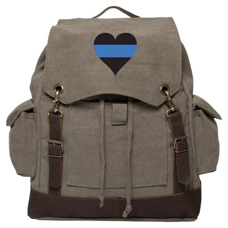 Thin Blue Line Heart - Police Policemen Rucksack Backpack with Leather Straps