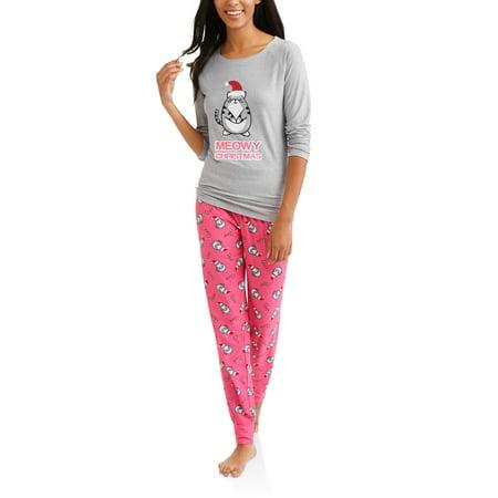 b2ac5788e Christmas - Women's Raglan Top and Jogger Pants 2-Piece Pajama Sets -  Walmart.com