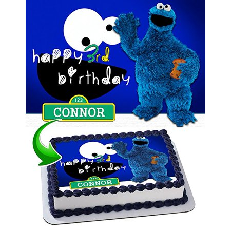 Cookie Monster Sesame Street Edible Image Cake Topper Personalized Icing Sugar Paper A4 Sheet Edible Frosting Photo Cake 1/4 Edible Image for cake ()