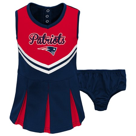 Toddler Red/Navy New England Patriots Cheerleader Dress & Bloomers (Set Dress Bloomers)
