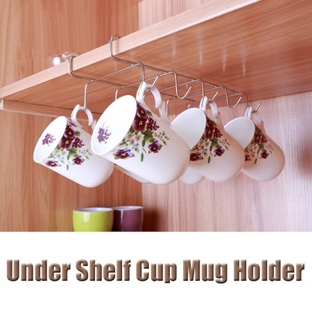 10 Hooks Mug Holder Under Shelf Coffee Tea Cup Organizer Storage Kitchen