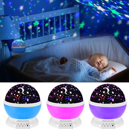 LED Night Light Star Moon Lamp Rotation Sky Projector Color Changing Baby Room