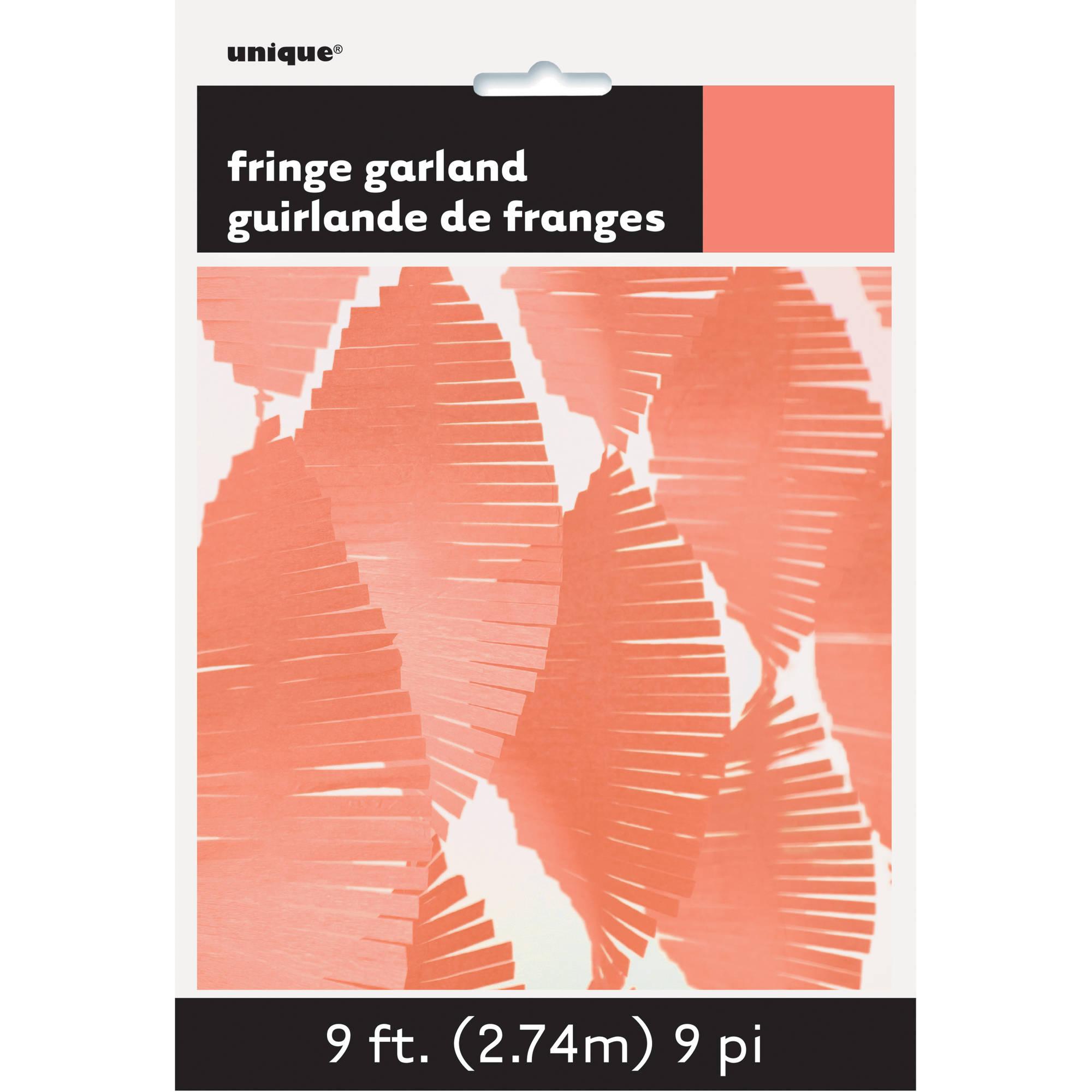 Tissue Paper Fringe Streamer Garland, 9 ft, Coral, 1ct