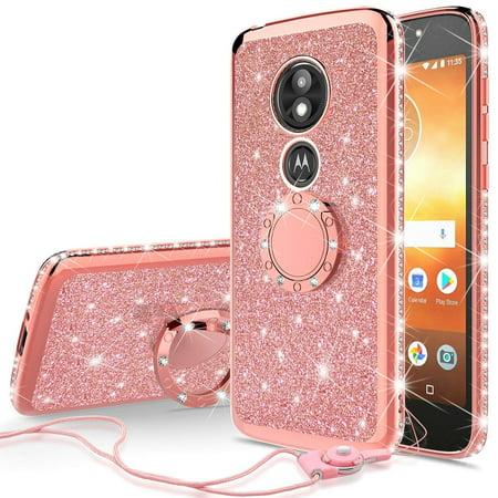 quality design e0c66 dd61d Glitter Cute Phone Case Girls with Kickstand for Motorola Moto E5 Play  Case,Moto E5 Cruise Case, Bling Diamond Rhinestone Bumper Ring Stand Thin  Clear ...