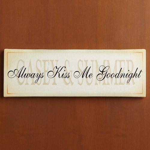 "Personalized ""Always Kiss Me Goodnight"" Canvas Wall Decor, 9"" x 27"""