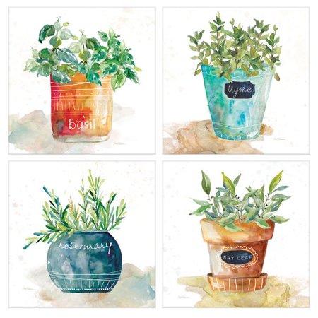 6a3c11e6ac1 Gracie Oaks  Potted Basil Bay Leaf Rosemary Thyme Herbs  4 Piece Watercolor  Painting Print Set on Wrapped Canvas - Walmart.com