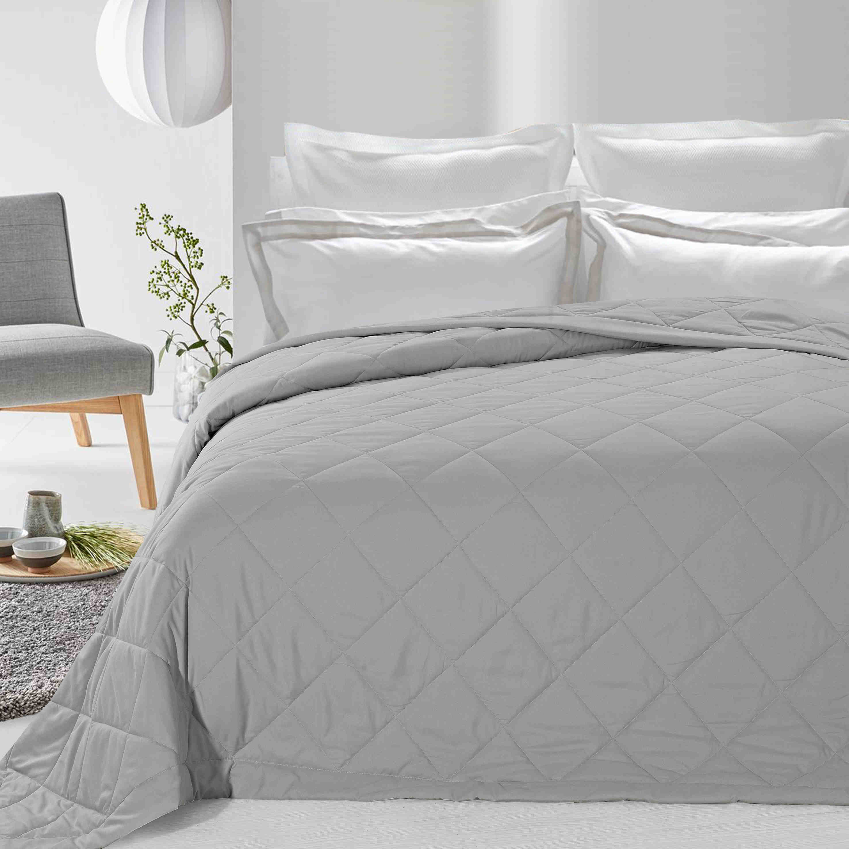 Never Down Alternative Down Blanket Light Gray Twin