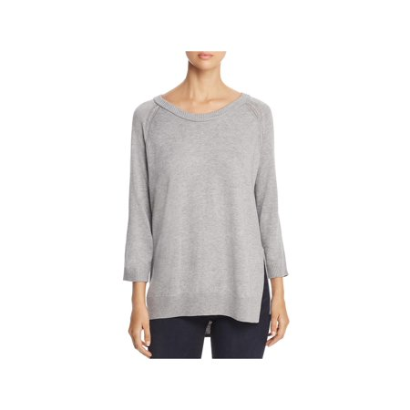 H. One Womens Open Stitch Detail Three-Quarter Sleeves Pullover Sweater