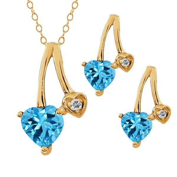 """2.14 Ct Heart Shape Swiss Blue Topaz 18k Yellow Gold Pendant 18"""" Earrings Set by"""