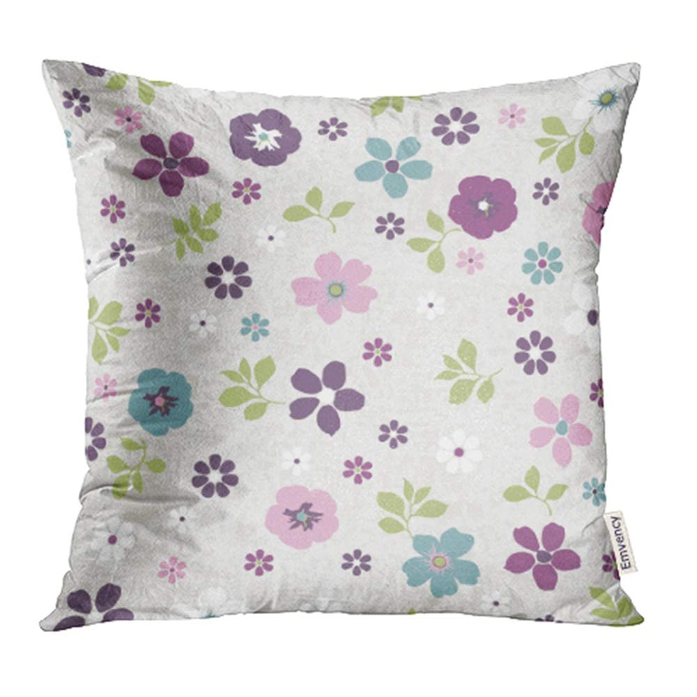 YWOTA Green Ditsy Tiny Floral Pattern on Grunge Pink Blossom Botany Bright Children Color Pillow Cases Cushion Cover 18x18 inch
