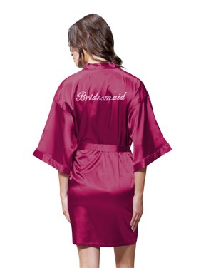 38a188a727 Product Image Turquaz Linen Satin Kimono Rhinestone Bridesmaid Robe  (Small Medium