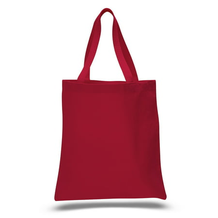 (12 Pack) 1 Dozen - Heavy Cotton Canvas Tote Bags (Red) (Tiffany Blue Bags)