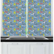 Hedgehog Curtains 2 Panels Set, Spring Forest Fauna Deer Fox Birds Bear Mouse Reindeer Wolf Sparrows and Flowers, Window Drapes for Living Room Bedroom, 55W X 39L Inches, Multicolor, by Ambesonne
