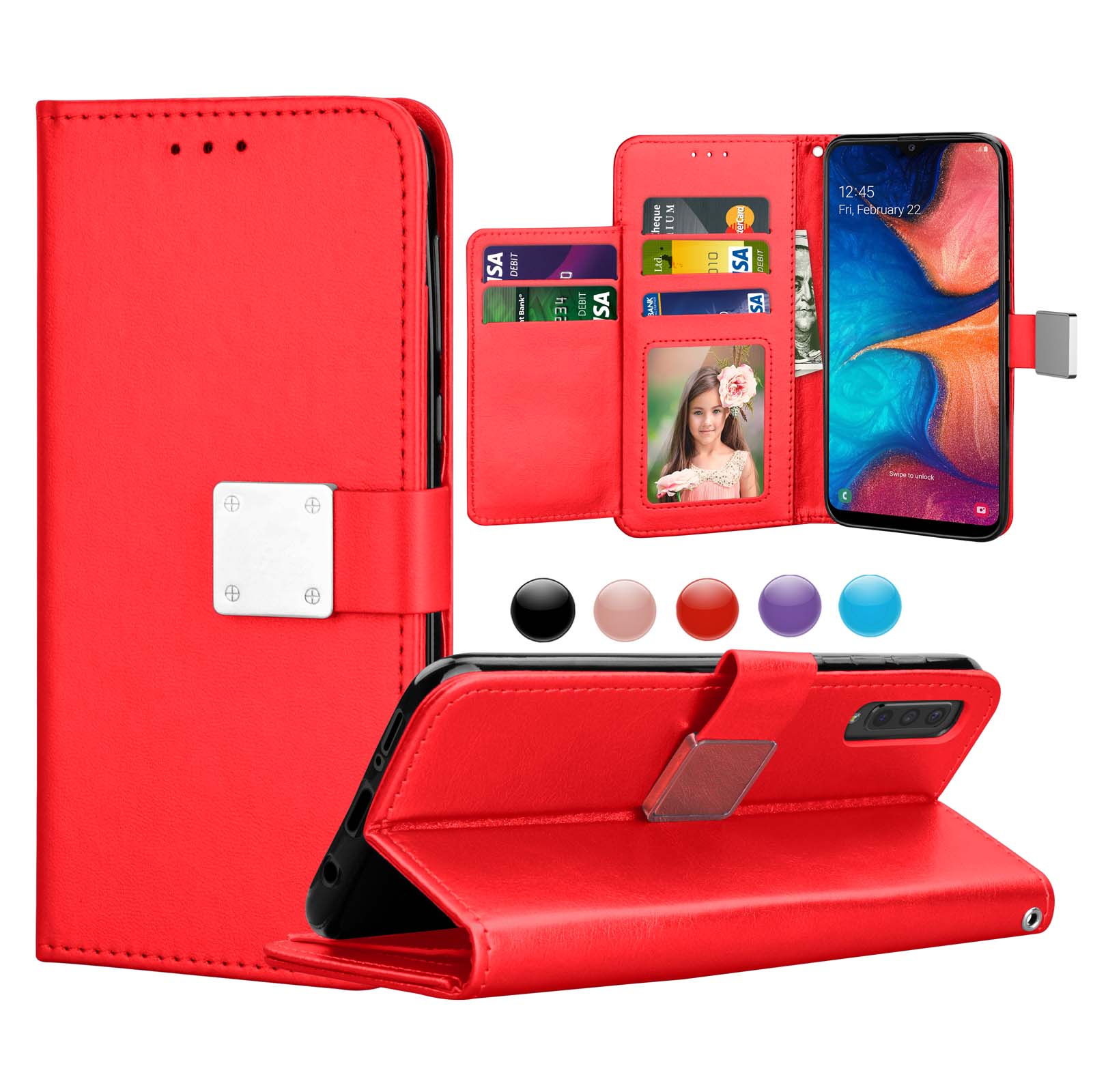 Flip Case Fit for Samsung Galaxy A50 Card Holders Kickstand Extra-Protective Leather Cover Wallet for Samsung Galaxy A50