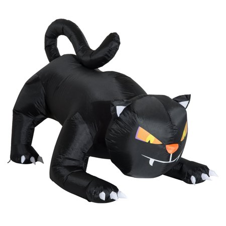 Halloween Inflatable Black Cat (HOMCOM 6' Long Outdoor Lighted Airblown Inflatable Halloween Lawn Decoration - Crouching Black)