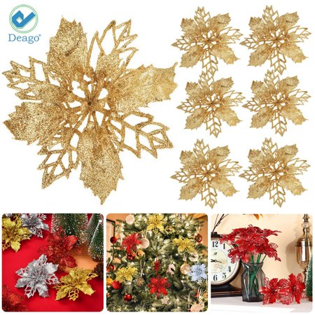 Deago Set of 6 Pcs Christmas Poinsettia Flowers Ornaments Glitter Floral Accessories Xmas Wreath Tree Decorations for Party Home Wedding ()