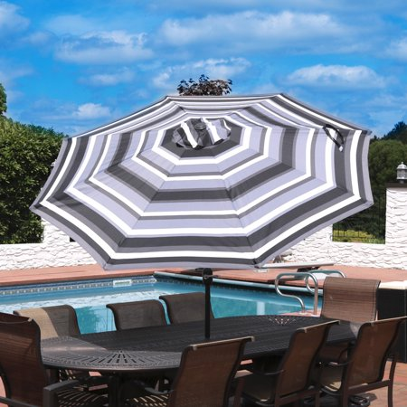 Sunnydaze 9 Foot Outdoor Patio Umbrella with Push Button Tilt & Crank, Aluminum, Catalina Beach Stripe