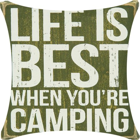 Life Is Best When You're Camping Grass Green Playground Background Cotton Linen Decorative Throw Pillow Case Cushion Cover Square 18