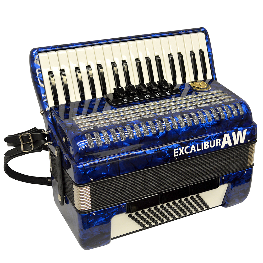 Excalibur Akordoen Werks (AW) 72 Bass Piano Accordion Pearl Blue by