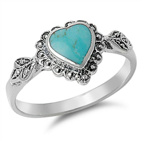 Turquoise Wedding (Sterling Silver Women's Simulated Turquoise Wedding Heart Ring (Sizes 4-10) (Ring Size)