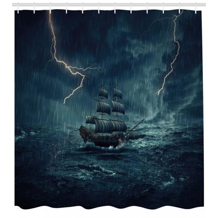 Landscape Shower Curtain, Stormy Rainy Weather Waves Pirate Vintage Ship Sailing Oil Paint, Fabric Bathroom Set with Hooks, White and Dark Cadet Blue, by Ambesonne ()