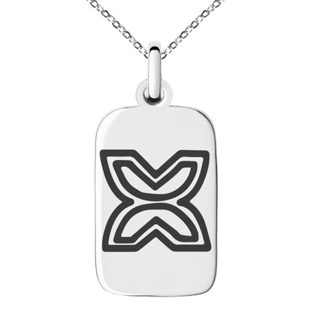 Stainless Steel Aztec Freedom Rune Engraved Small Rectangle Dog Tag Charm Pendant Necklace