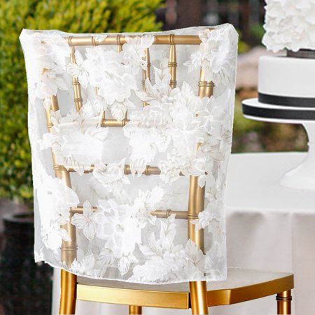 Brilliant Balsacircle White Sheer Organza Peonies Square Top Chair Caps Covers Slipcovers Party Wedding Reception Home Dining Catering Pdpeps Interior Chair Design Pdpepsorg