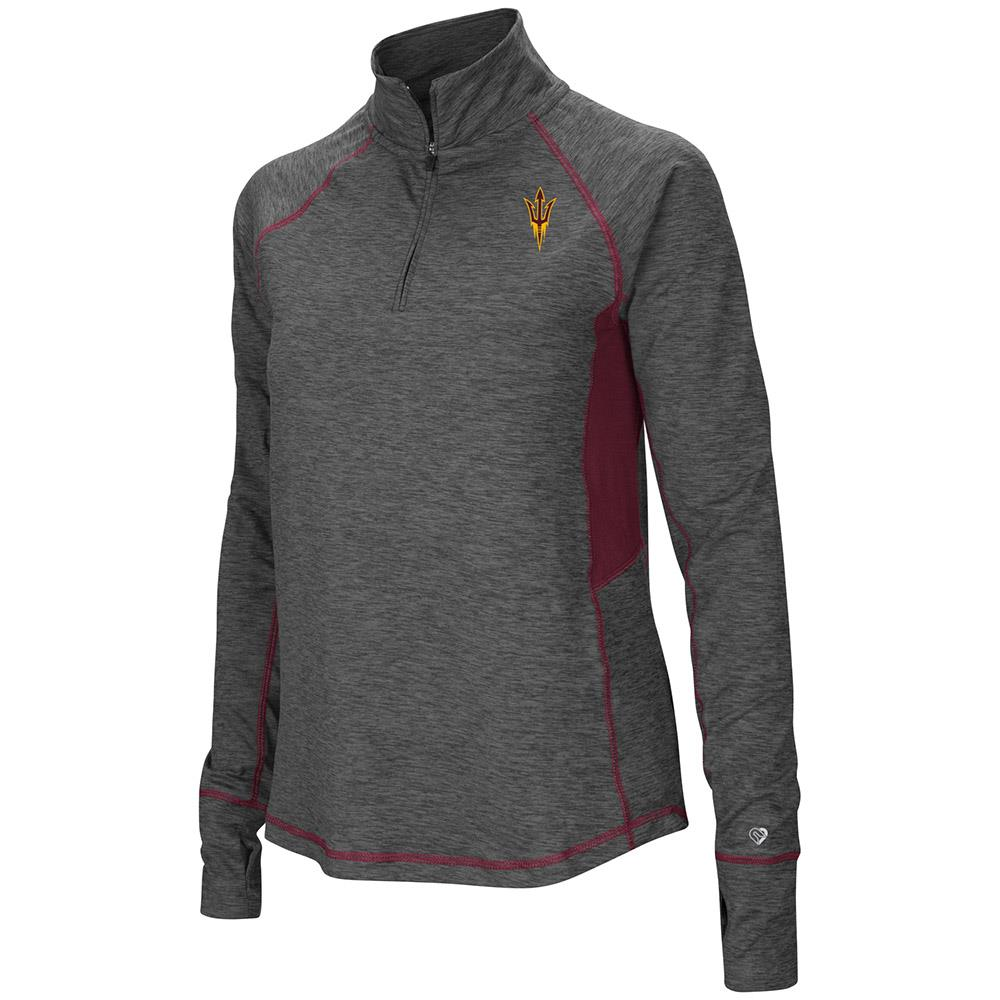 Womens Arizona State Sun Devils Quarter Zip Pull-over Long Sleeve Shirt